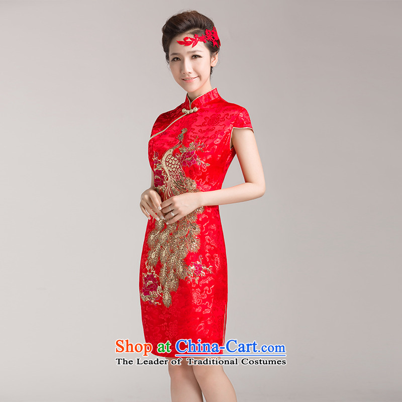 Marriages cheongsam wedding dresses, Red Chinese improved services for summer bows retro temperament qipao L