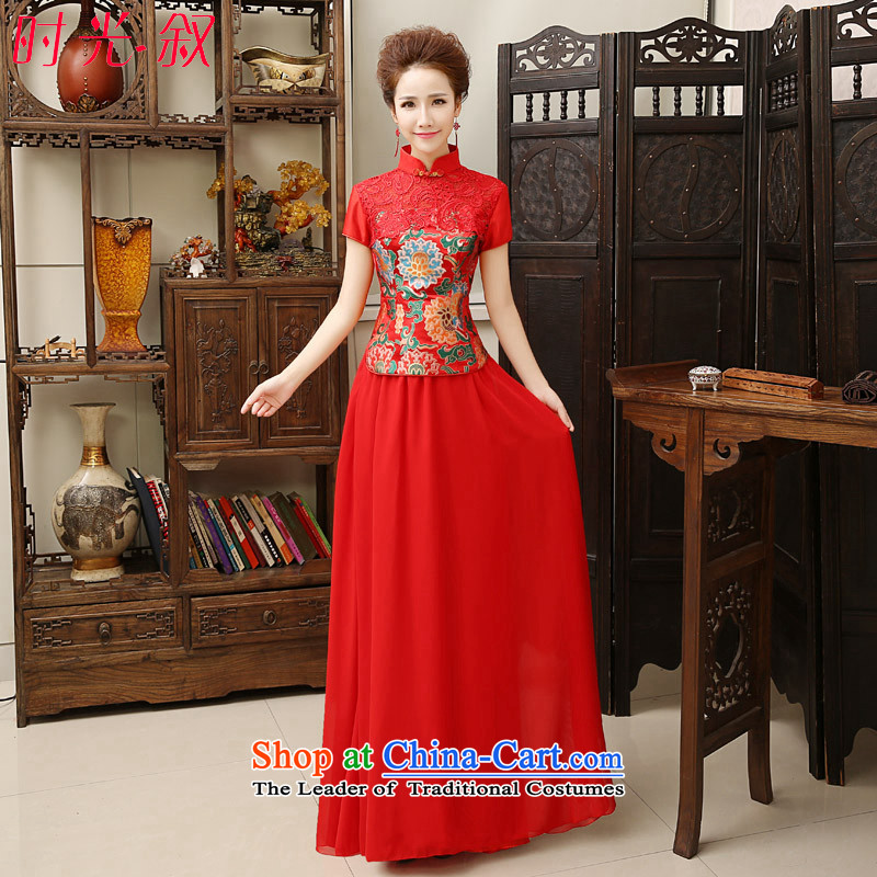 The cheongsam dress 2015 autumn and winter new bride bows to lace short-sleeved chiffon skirt elegant Chinese red marriage retro dress skirt the door to red燲XL