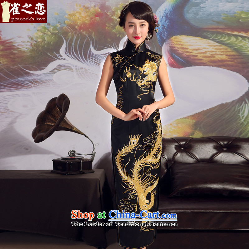 Love of birds?2015 new cheongsam summer heavyweight silk cheongsam dress manually suzhou embroidery disc Fairview extension qipao black - pre-sale 20 days of?L