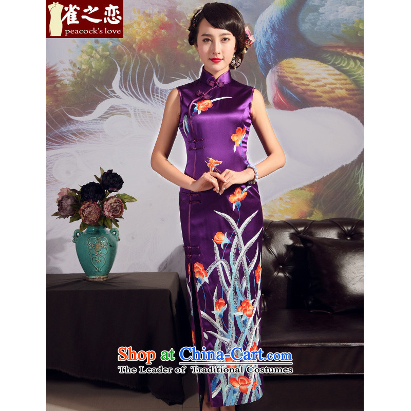 Love of birds 2015 Summer new embroidery qipao stylish heavyweight silk embroidery cheongsam Purple - 20 days pre-sale XXL