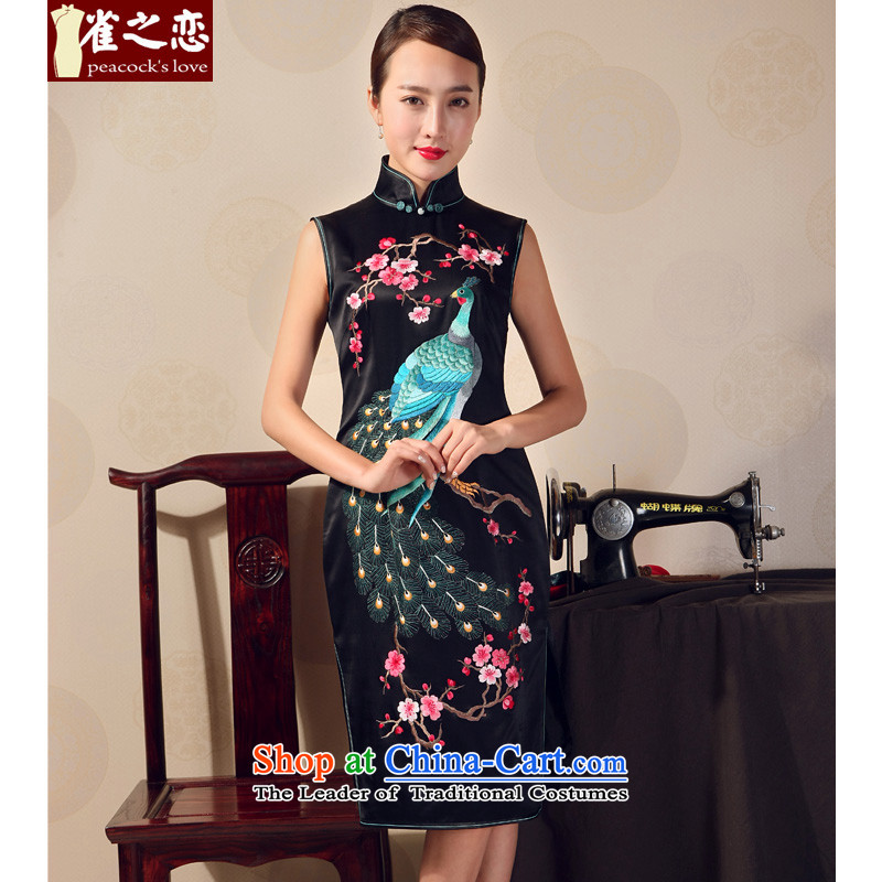 Love of birds 2015 new summer cheongsam dress heavyweight silk embroidered short, Mr Louis cheongsam dress black - 20 days pre-sale L