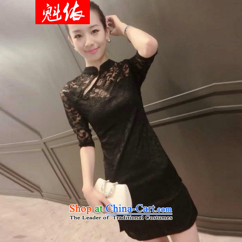 In accordance with the 2015 autumn load record lace Sau San video thin cheongsam dress black?L