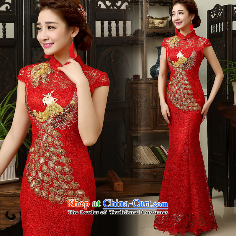 The knot true love evening dresses new spring 2015 Korean brides bows serving long tail of Sau San Red Dress summer qipao marriage red燬