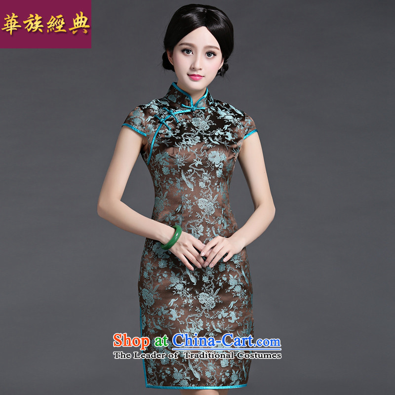 Chinese classic 2015 spring and summer-load new nobility damask short-sleeve shoulder even cheongsam dress short of retro abounds improved?M