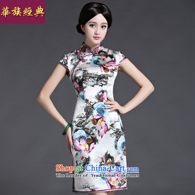 The Republic of Korea and stylish classic ethnic Chinese Summer Silk Cheongsam Ms. herbs extract everyday dress short of improved retro suit燬