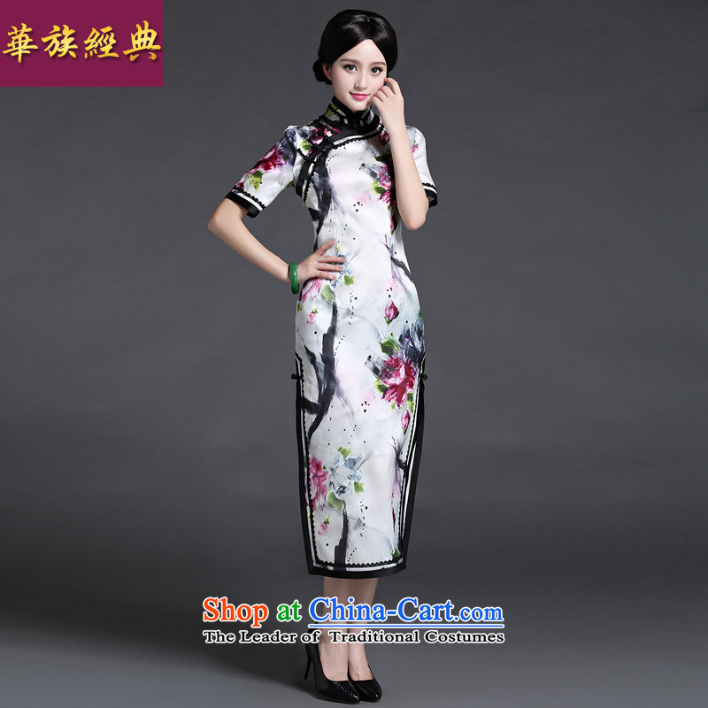 Chinese New Year 2015 classic ethnic Chinese Silk Cheongsam Ms. long skirt the spring and summer load improved elegant daily suit S
