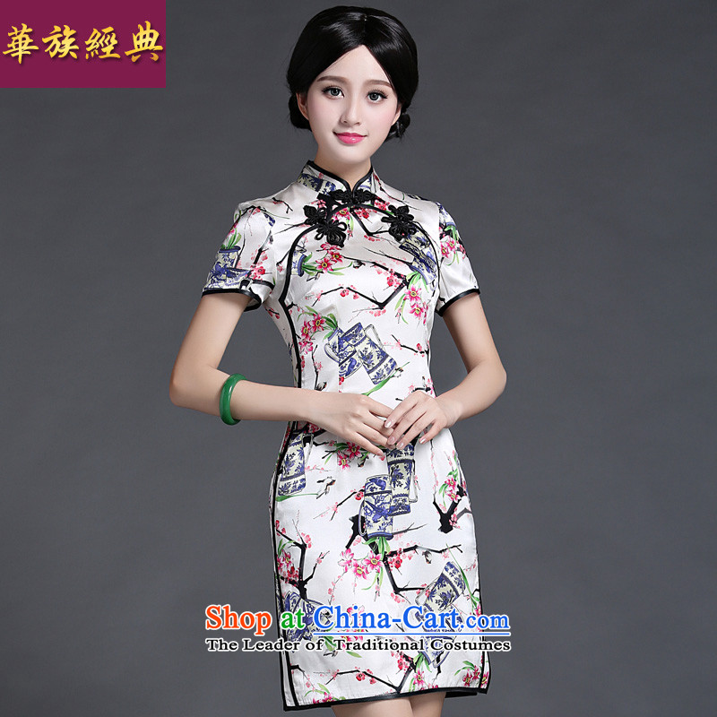 Chinese New Year 2015 classic ethnic summer heavyweight silk Ms. herbs extract routine cheongsam dress improved graphics thin suit燲XL