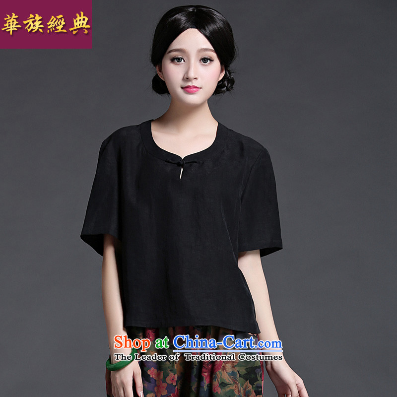China Ethnic classic improved Tang dynasty 2015 qipao Heung-cloud yarn shirt summer chinese president of the Republic of Korea wind minimalist everyday black are code