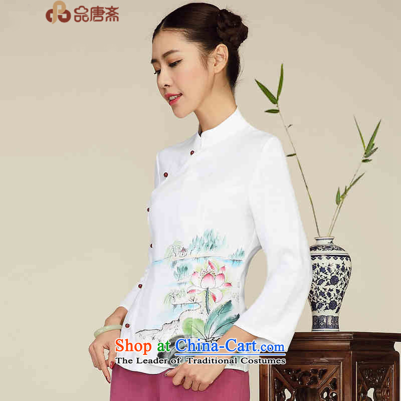 No. of Ramadan Chinese improved Tang Tang Women's clothes cotton linen clothes of ethnic WOMEN'S SHORTS retro qipao White M
