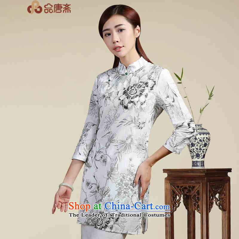 No. of Ramadan new fall short of ethnic in long Tang Women's clothes cotton linen dresses white燣 T-Shirt