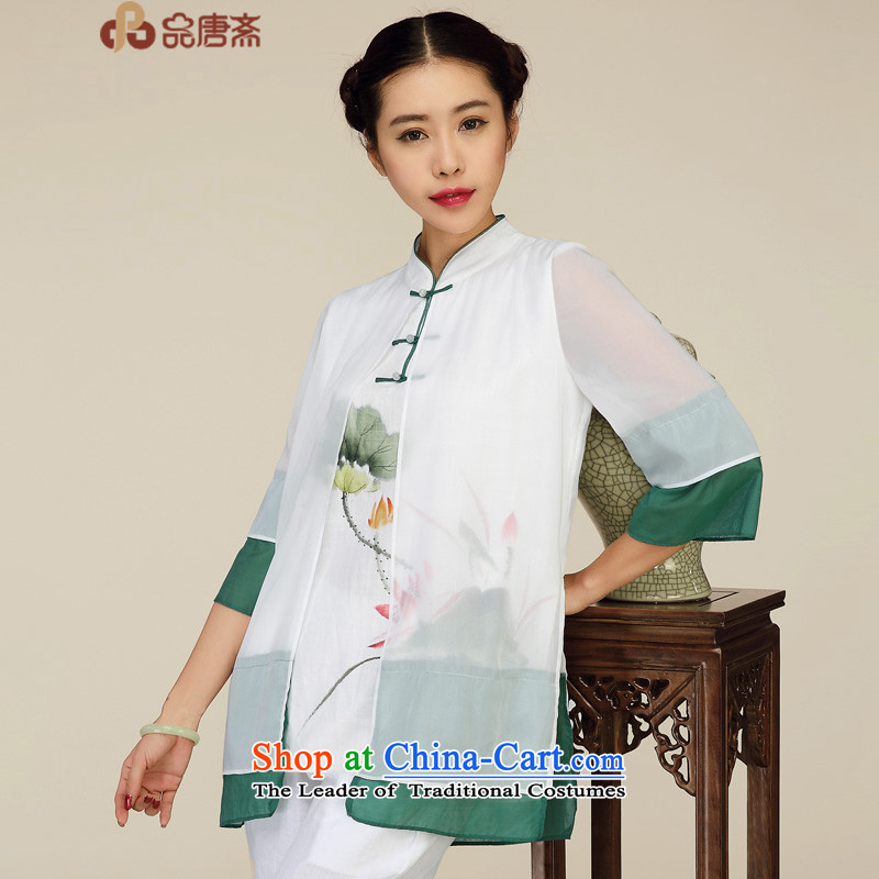 No. of Ramadan New Tang Tang dynasty blouses China wind arts retro female tea Services White M
