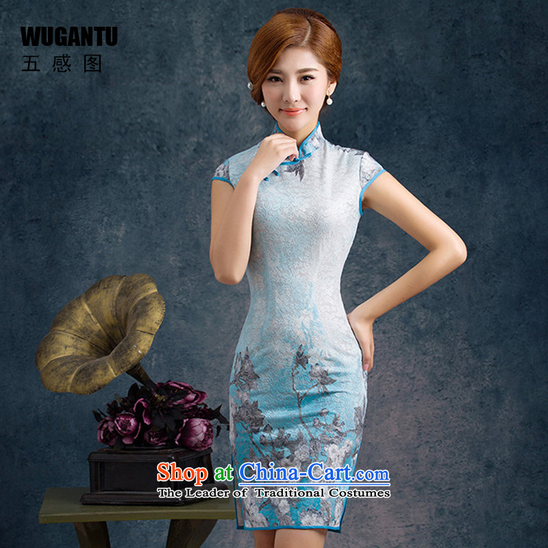 Five-sense?new improvements 2015 figure and stylish look sexy lace qipao gown, upscale short skirt?WGT75005?picture color?XXL