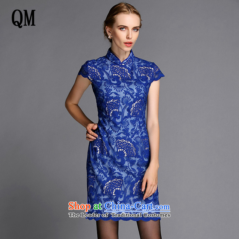 The end of the high end of the shallow engraving embroidery improved stylish燽lue qipao skirt XWG140301 Sau San燣