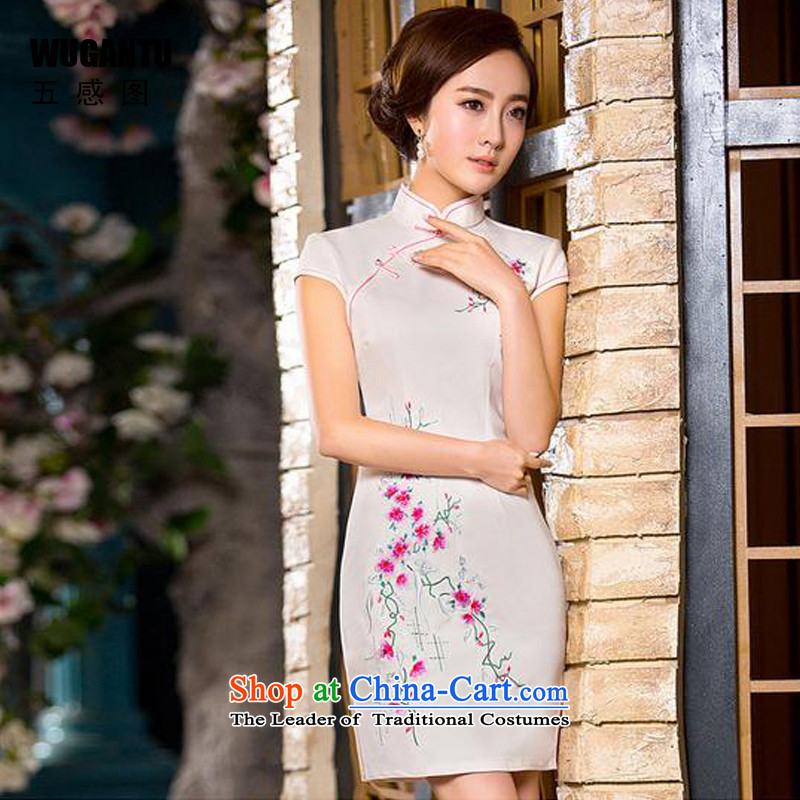 The five senses the爏pring and summer 2015 figure new cheongsam China wind women's daily fashion improved Silk Cheongsam short skirt燱GT173爌icture color燤