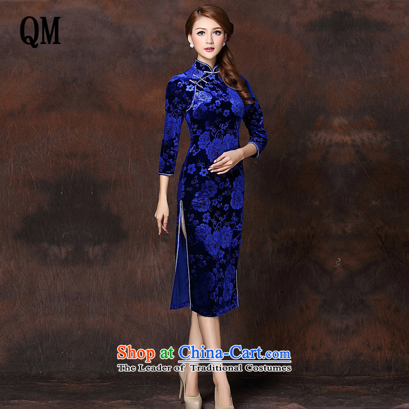 At the end of light and Stylish retro-improved 7 long-sleeved blue qipao XWG141008 scouring pads M
