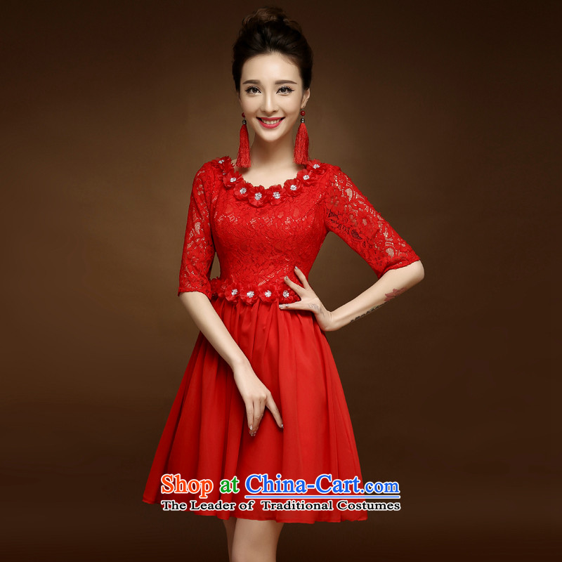 The privilege of serving-leung 2015 new short of the summer and fall of qipao red bride bows to marry Chinese style red dress�L