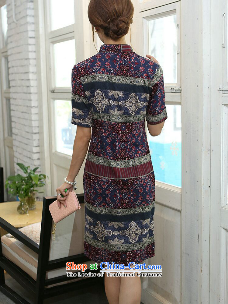 Figure for summer flowers women improved collar in the middle and long-sleeved cotton linen word manually detained qipao cheongsam dress classical spell color color pictures, Spell Checker XL price, brand platters! The elections are supplied in the national character of distribution, so action, buy now enjoy more preferential! As soon as possible.