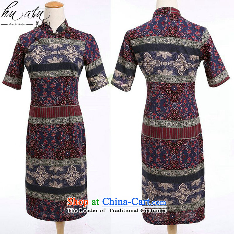 Figure for summer flowers women improved collar in the middle and long-sleeved cotton linen word manually detained qipao cheongsam dress classical spell color color XL, it spell , , , shopping on the Internet