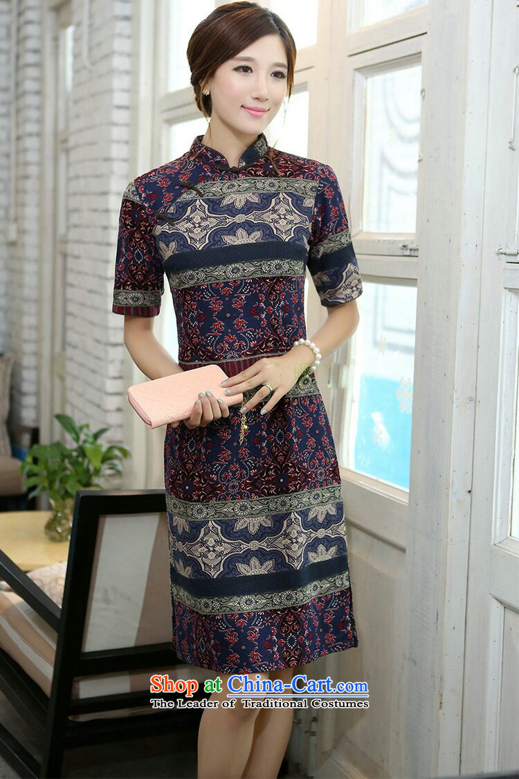 Dan smoke summer women improved collar in the middle and long-sleeved cotton linen word manually detained qipao cheongsam dress classical spell color as shown in the color聽pictures, prices, 2XL brand platters! The elections are supplied in the national character of distribution, so action, buy now enjoy more preferential! As soon as possible.