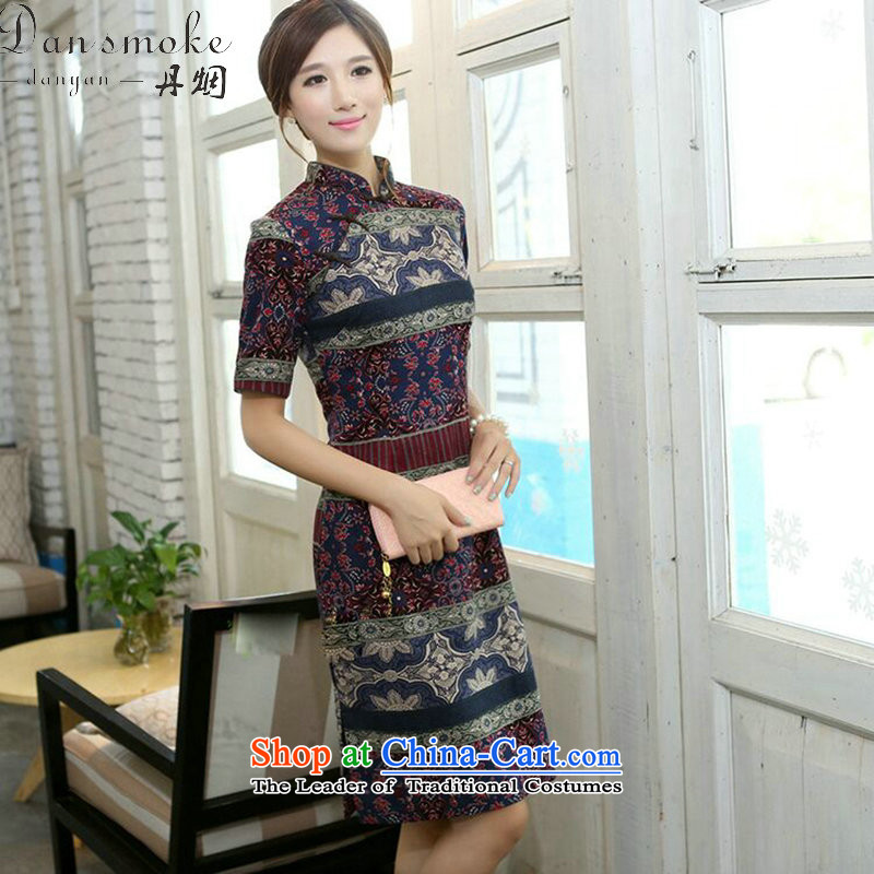 Dan smoke summer women improved collar in the middle and long-sleeved cotton linen word manually detained qipao cheongsam dress classical spell color as shown in figure聽2XL color