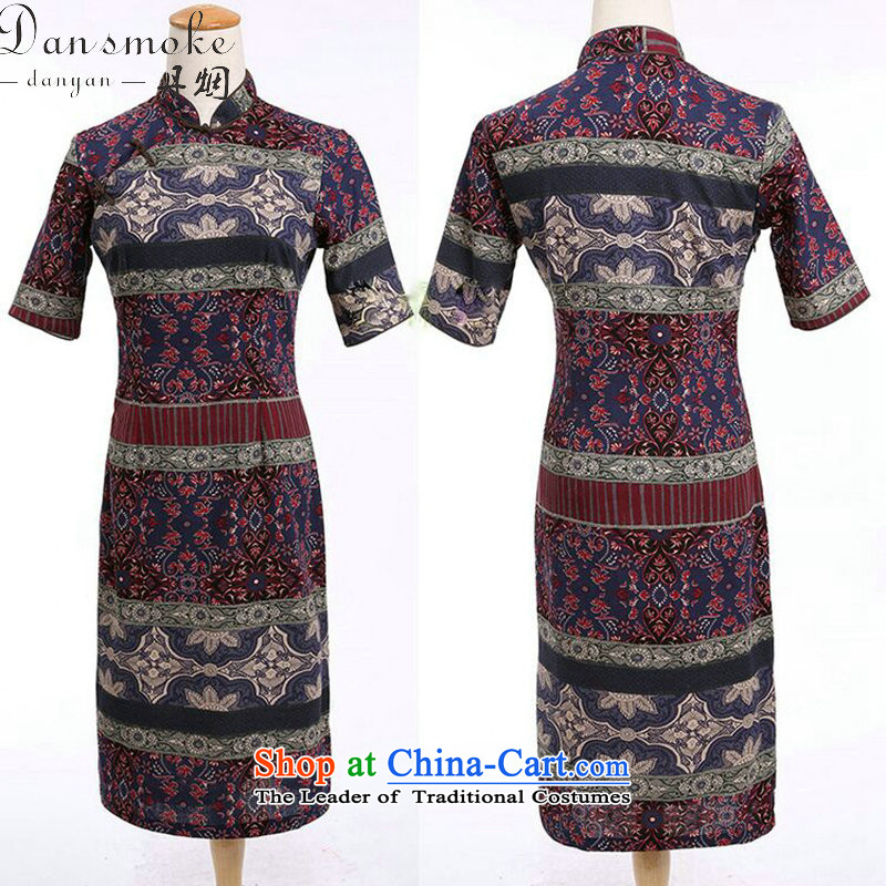 Dan smoke summer women improved collar in the middle and long-sleeved cotton linen word manually detained qipao cheongsam dress classical spell color as shown in the color聽2XL, Dan Smoke , , , shopping on the Internet
