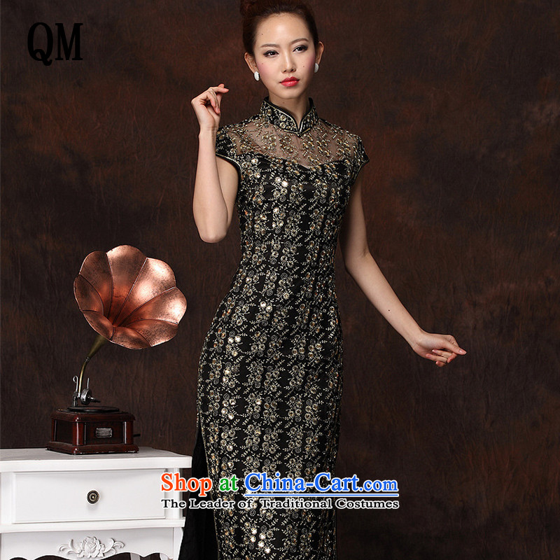 The end of the light of improved stylish long cheongsam embroidery in high power's sexy retro banquet qipao燲WG134-1燽lack燲XXL skirt