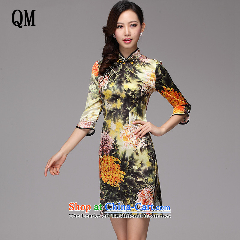 The end of the light of improved stylish and elegant silk huang ju daily Leisure Short qipao?XWG2013-02?map color?M