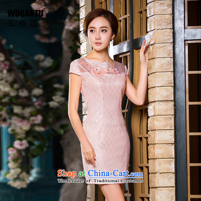 The five senses figure of daily new summer 2015 stylish lace short qipao Sau San dresses Female dress WGT163 picture color 163 XXL