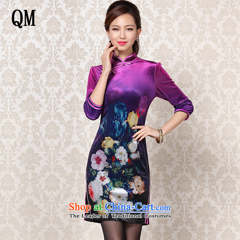 At the end of first camellia pattern light and stylish retro in improved scouring pads stamp short-sleeved qipao?XWG13-23?PURPLE?XL