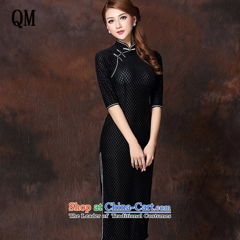 At the end of light and stylish retro long_ Improved elegance velvet cheongsam dress燲WG141007牋XXXL black