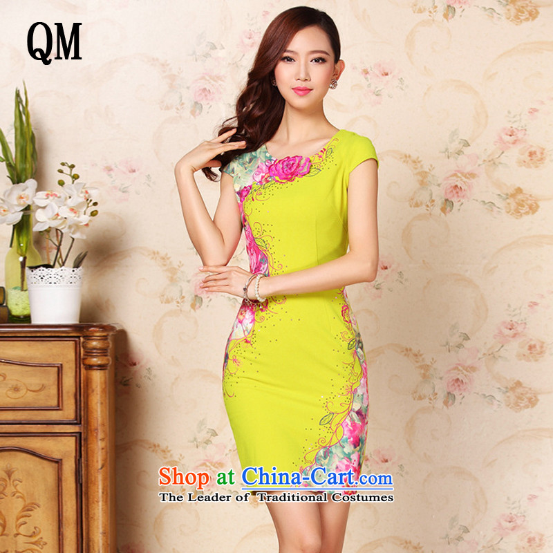 The end of the summer, improvement of light and stylish stereo embroidery no forklift truck daily short skirt?XWG335 qipao?map color?S
