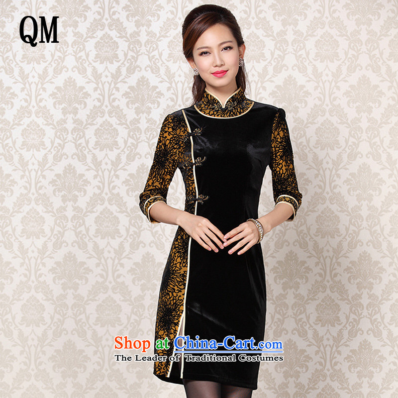 At the end of light and Stylish retro-cashmere improvements in the stitching short-sleeved qipao?XWG13-6092?map color?S