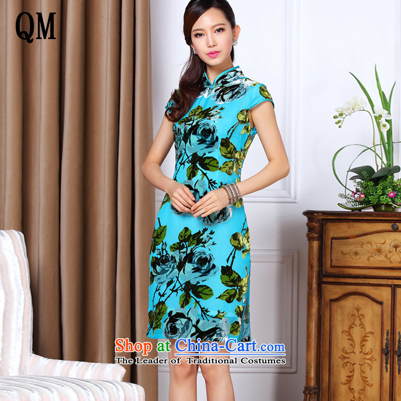 At the end of the summer of light and stylish low power's improved sauna Silk Cheongsam?XWG1307-86 daily short?blue?XXXXL