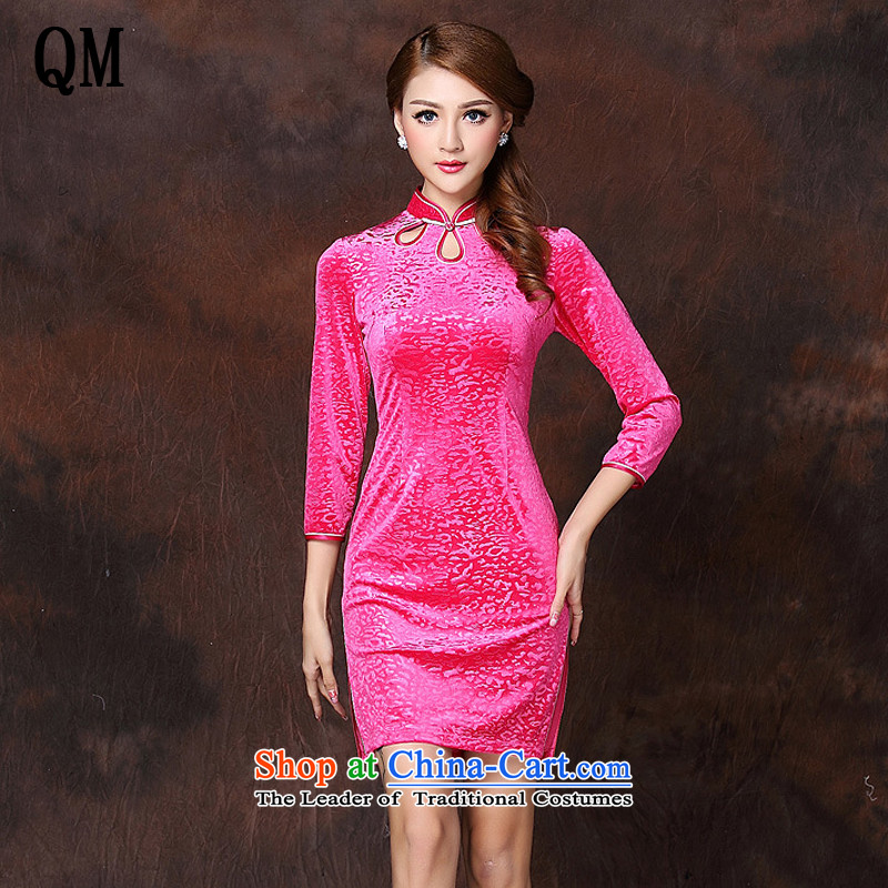 End expiratory pressure very stylish retro in improved Flower Sleeve velvet short qipao? XWG141002?RED?XL
