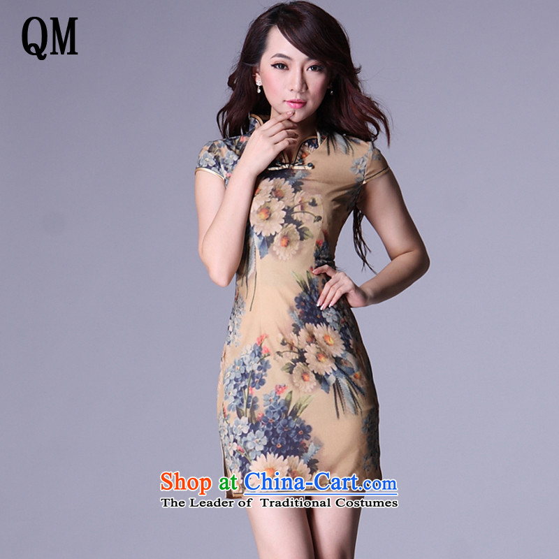 At the end of light emulation population improved Stylish retro Lounge opened's short qipao�XWG007-6�map color�M