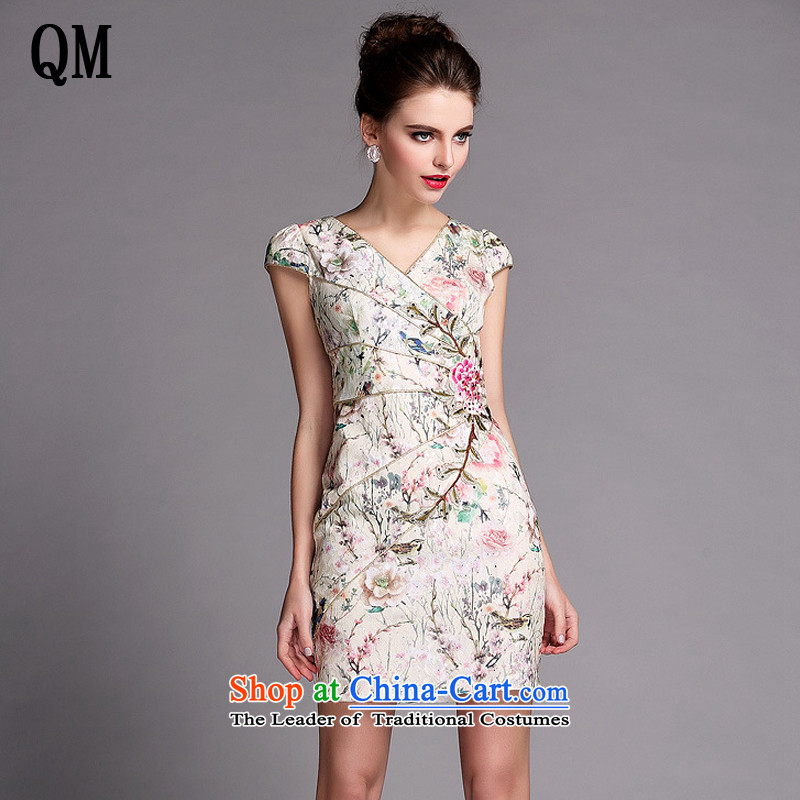 At the end of the summer of light stylish and simple on-chip short qipao nets Sau San diamond tie-dye stereo flower cheongsam?XWG1405081?map color?L