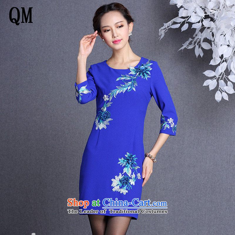 At the end of light and stylish embroidery in improved short-sleeved qipao聽XWG838-2 M
