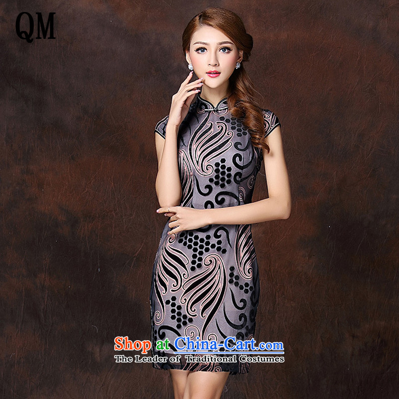 At the end of light and stylish retro low on improved Ms.'s daily short qipao? XWG141018?GRAY?M