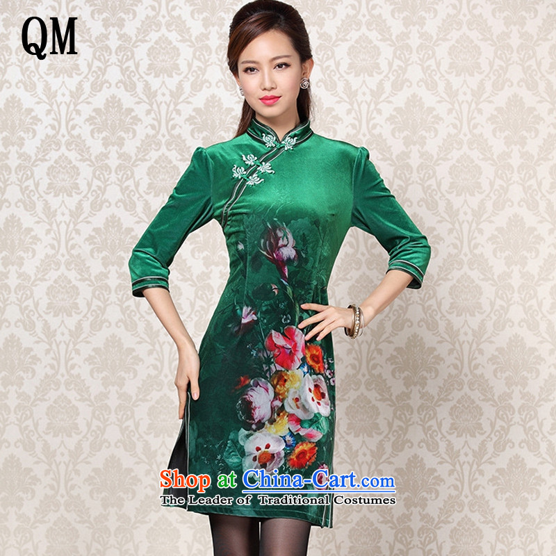 At the end of light and stylish retro scouring pads stamp improved dual chancing cuff short qipao�XWF13-26�jade�XXL