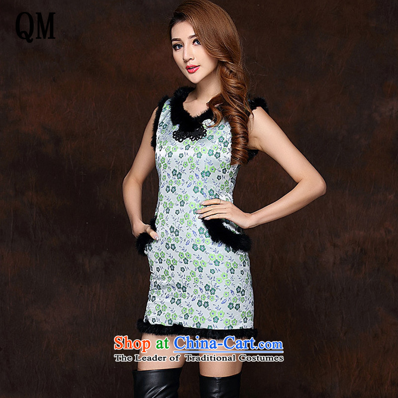 The end of the light of improved gross spell stylish sleeveless clip cotton not open's short qipao?XWG141012?fruit green?XXL