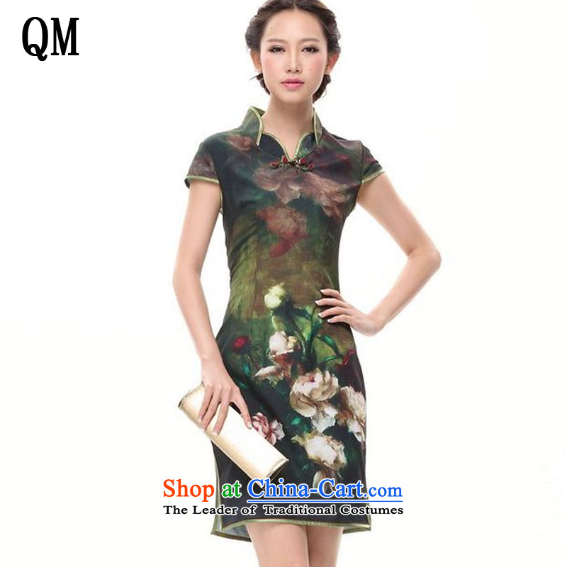 The end of the light of improved retro stamp cheongsam Dress Casual Day-to-day short-sleeved qipao�XWG002-5�GREEN�M