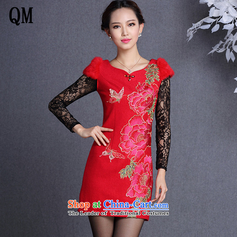 The end of the light of improved stylish Sau San rabbit hair shoulder embroidered short qipao?XWG13017 gross??red?XXL