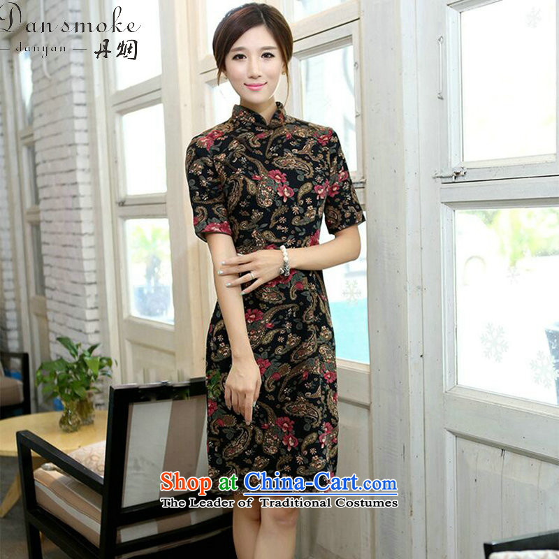 Dan smoke summer female qipao improved collar in cuff. Long cotton linen word manually detained retro Sau San Figure Color qipao聽XL