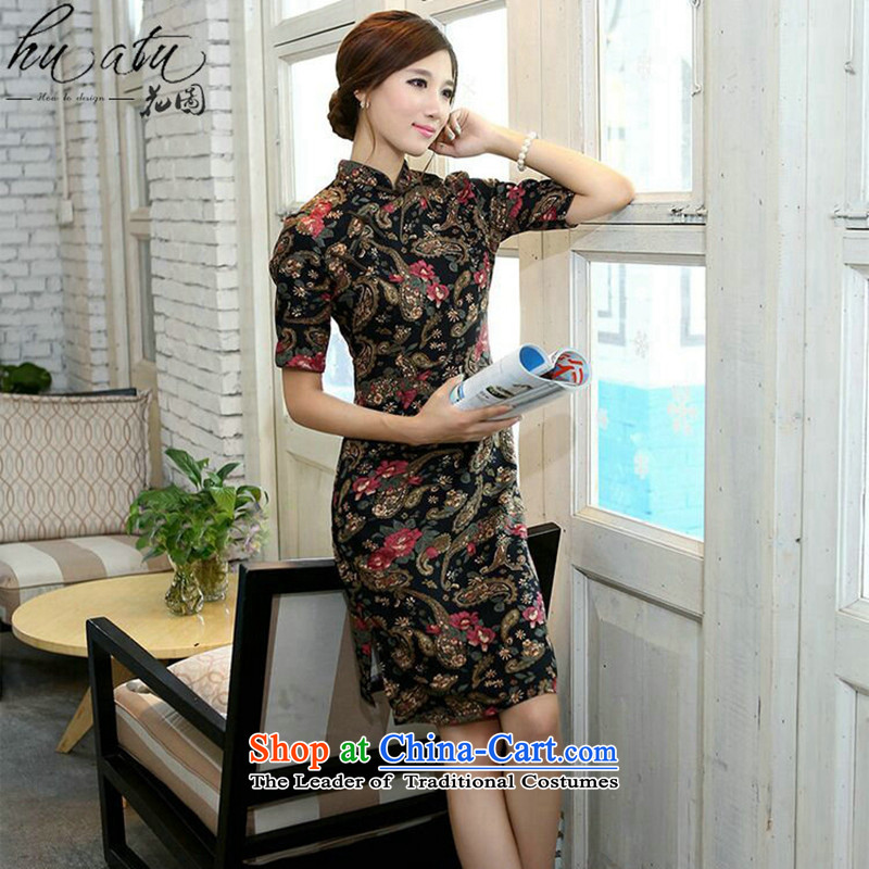 Figure for summer flowers cheongsam dress improvement in collar in the Cuff long cotton linen word manually detained retro Sau San Figure Color S cheongsam floral shopping on the Internet has been pressed.
