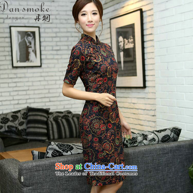 Dan smoke China wind summer female linen collar in the improvement of the cuff and the laptop in the manual long cheongsam dress figure color?M