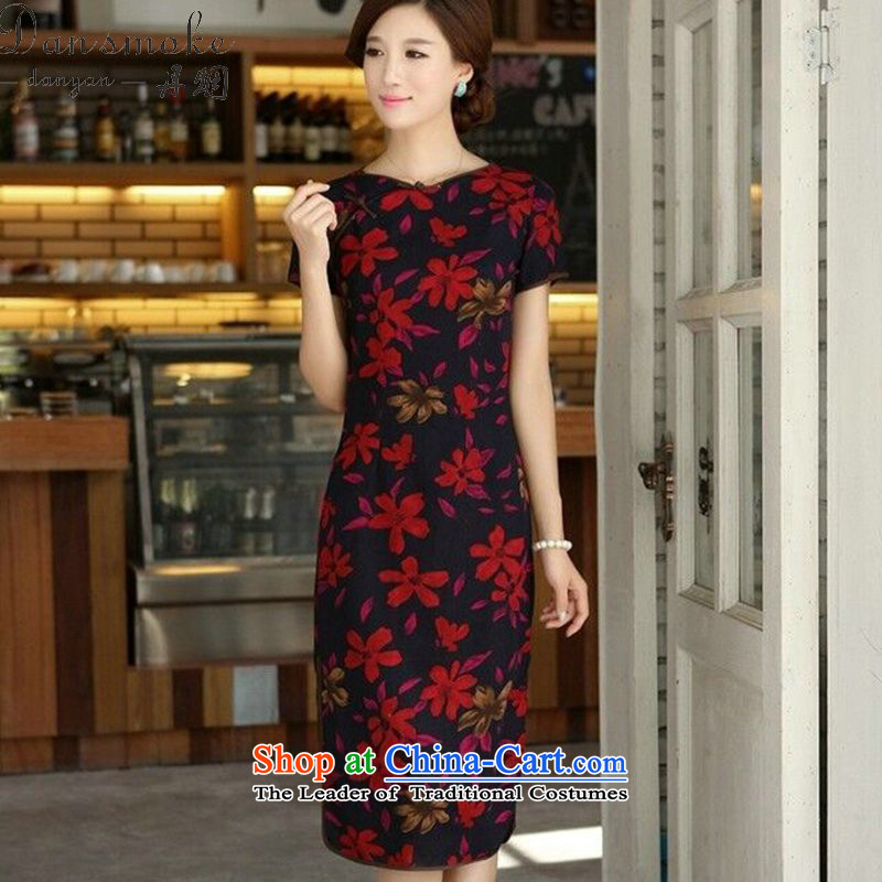 Dan smoke summer New China wind female retro cotton linen collar word is manually Sau San long skirt figure color qipao M