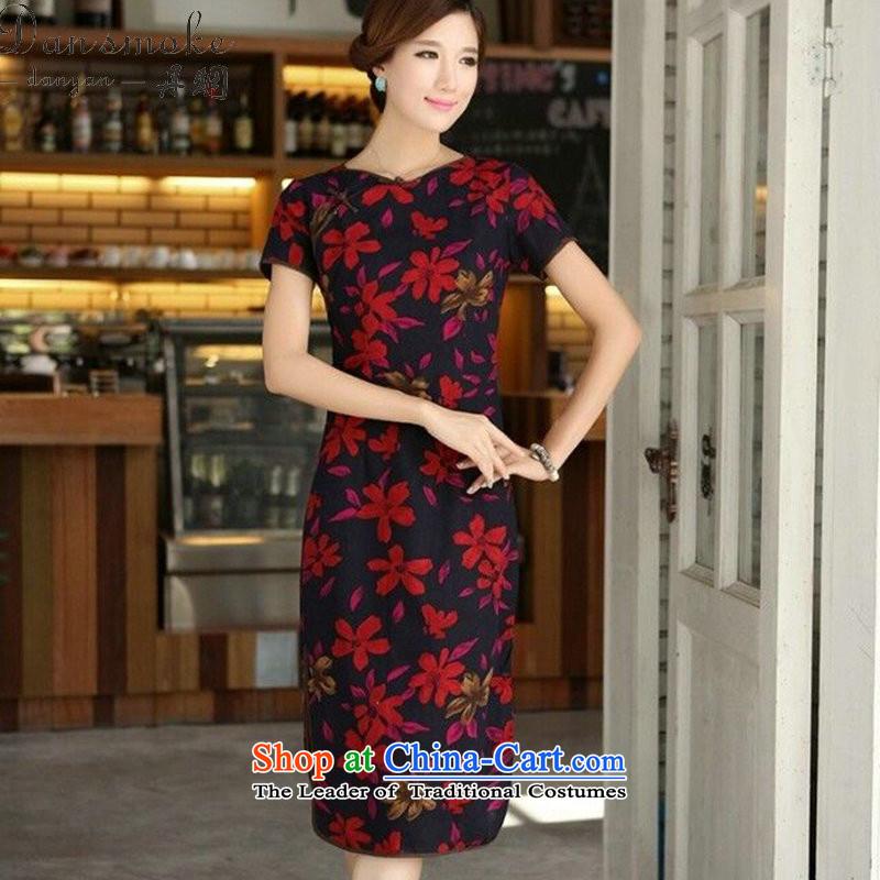 Dan smoke summer New China wind female retro cotton linen collar word is manually Sau San long skirt figure color qipao聽Dan M smoke , , , shopping on the Internet