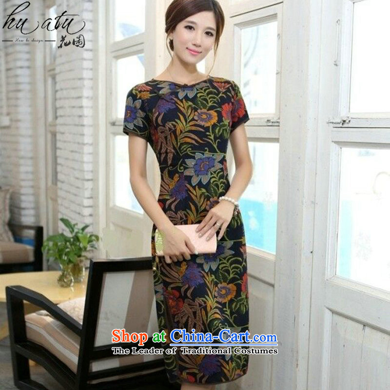Spend the summer of the new figure China wind short-sleeved lotus round-neck collar linen in long hand tie stylish short-sleeved cheongsam dress Figure 2XL color