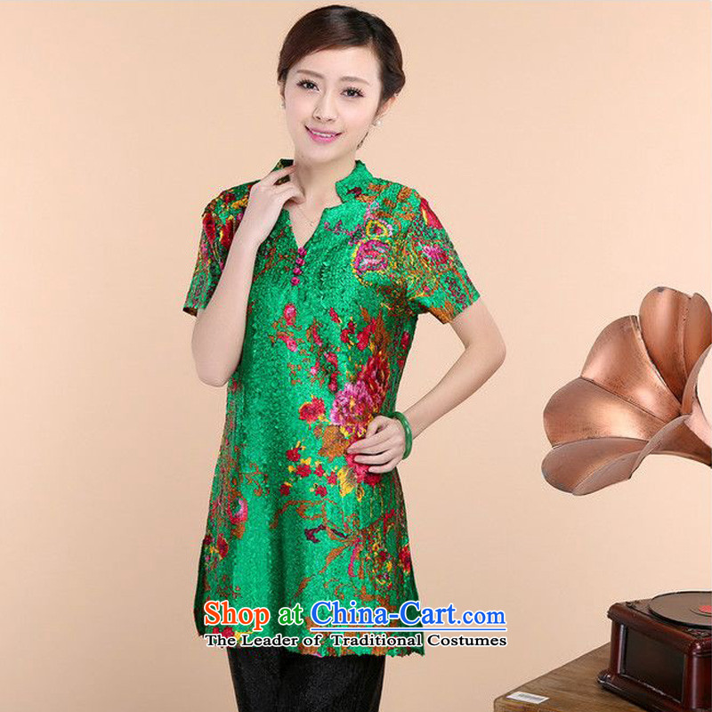 2015 Summer forest narcissus New Silk creases stamp short-sleeved T-shirt XYY-1006-2 green L