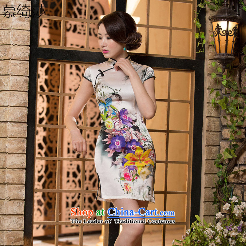 The cross-sa Selena Silk Cheongsam look stylish retro-day qipao cheongsam dress Ms. improved summer燬Z S2231L